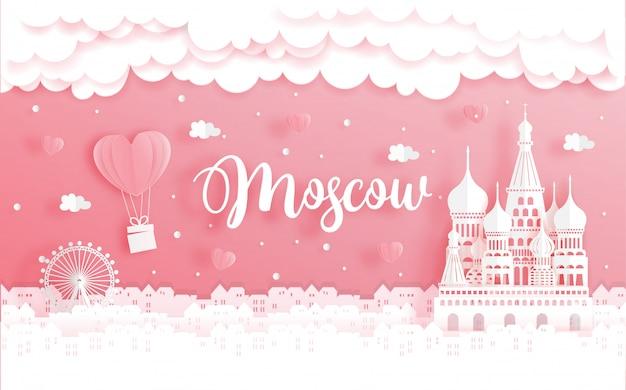 Viagem de lua de mel e conceito de dia dos namorados com viagens para moscou, rússia Vetor Premium