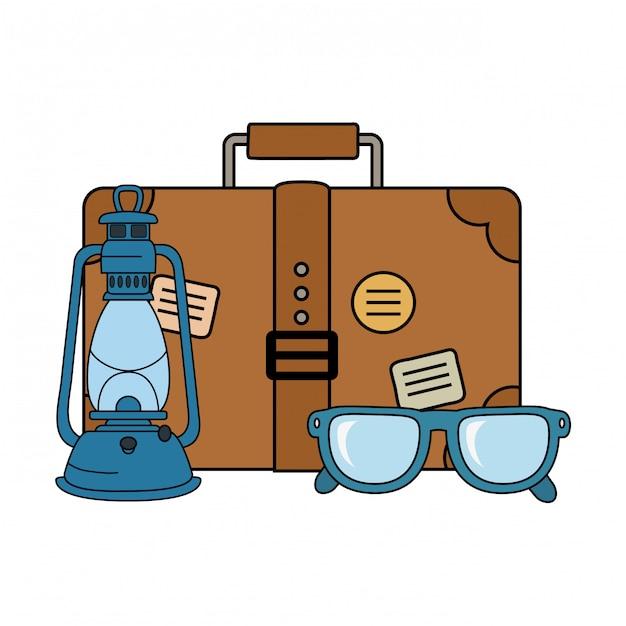 Viagem de mala com óculos e ícone de campismo Vetor Premium