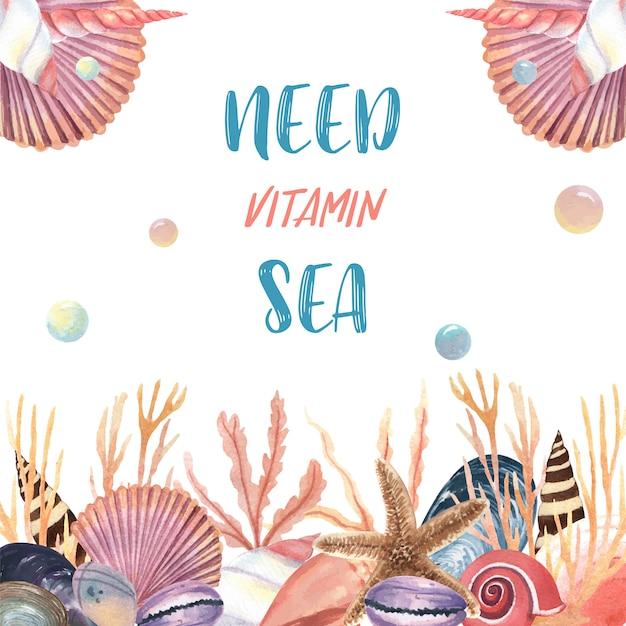 Viagem de verão de vida marinha de concha do mar na praia Vetor grátis