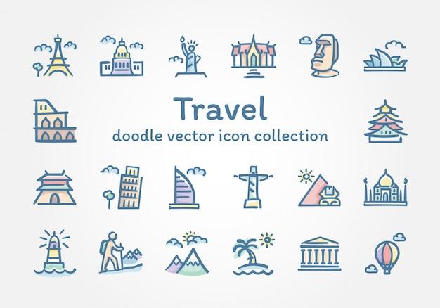 Viagem, doodle, vetorial, ícone, cobrança Vetor Premium