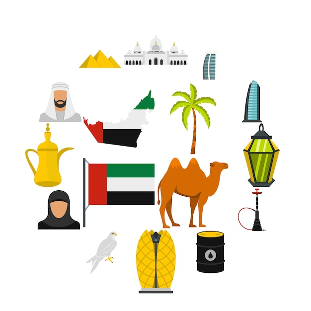 Viagem dos emirados árabes unidos definir ícones planas Vetor Premium