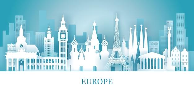 Viagem e atração turística Vetor Premium