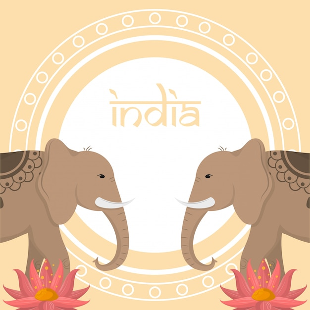 Viagem e cultura na índia Vetor Premium