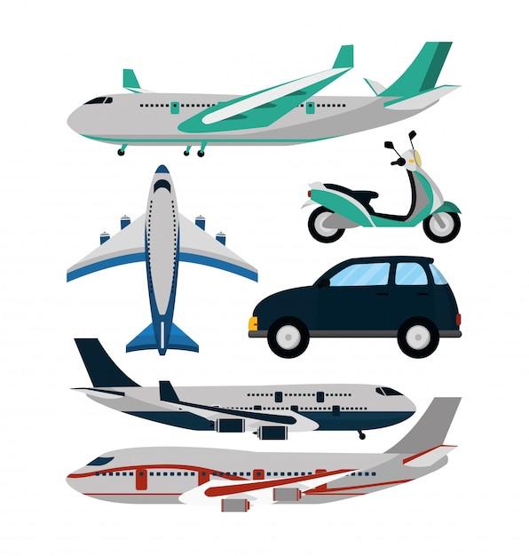 Viagem e transporte dos desenhos animados Vetor Premium
