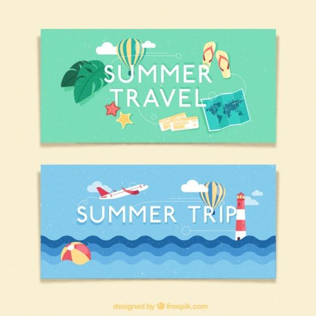 Viagem em banners verão Vetor grátis
