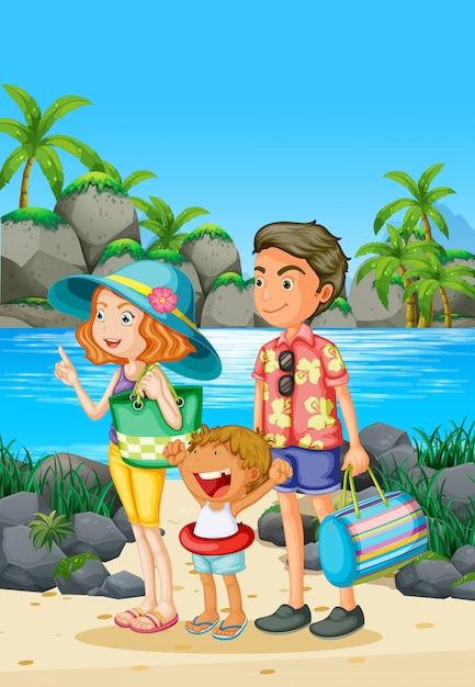 Viagem em família com os pais e a criança na praia Vetor Premium