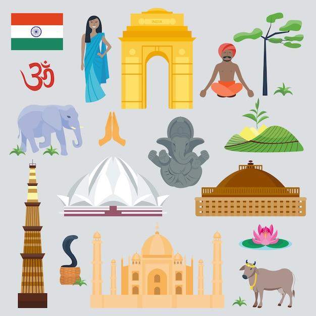 Viagem global e viagem do marco da índia. símbolo bonito tradicional da arquitetura de ásia da cultura da fachada. edifício do leste detalhado e animais. Vetor Premium