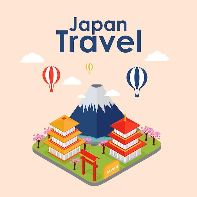 Viagem isométrica do japão, ilustração vetorial Vetor Premium