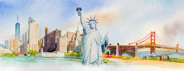 Viagem manhattan urbano, liberty statue, golden gate bridge nos eua. Vetor Premium