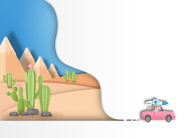 Viagem por estrada para viajar no fundo do deserto Vetor Premium