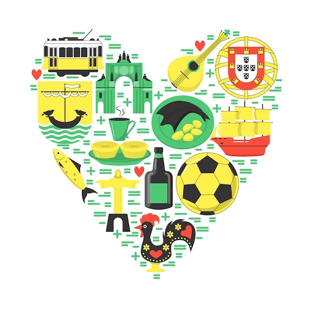 Viagem portugal elementos no coração Vetor Premium