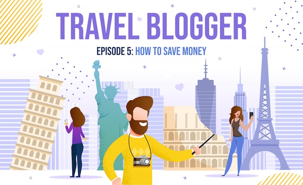 Viagem vídeo mulher homem blogger idéias inspiração Vetor Premium
