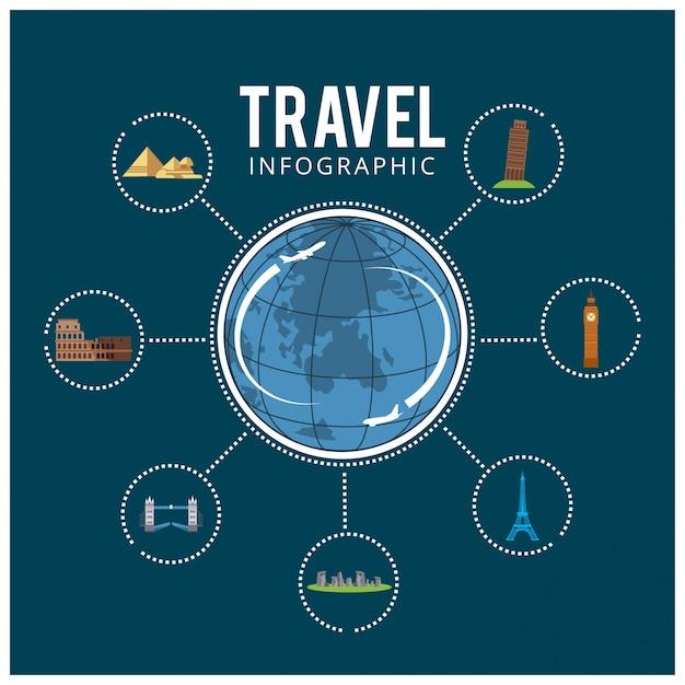 Viagens coloridas viagens e turismo de fundo e infográfico Vetor grátis