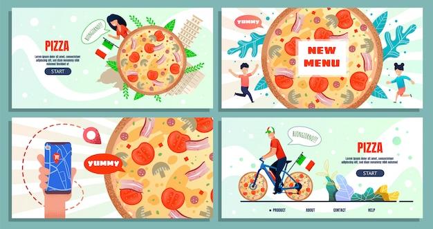 Viagens culinárias para a itália página inicial de publicidade Vetor Premium
