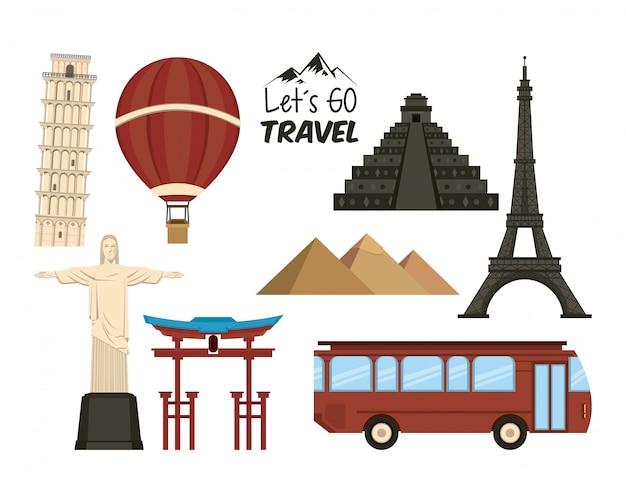 Viagens de viagem e lugares turísticos Vetor grátis