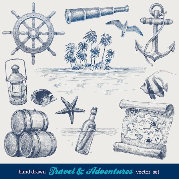 Viagens e aventuras mão desenhado conjunto Vetor Premium