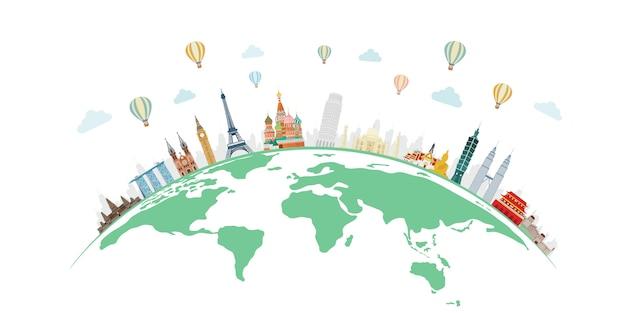 Viagens e turismo com famosos monumentos do mundo no mundo Vetor Premium