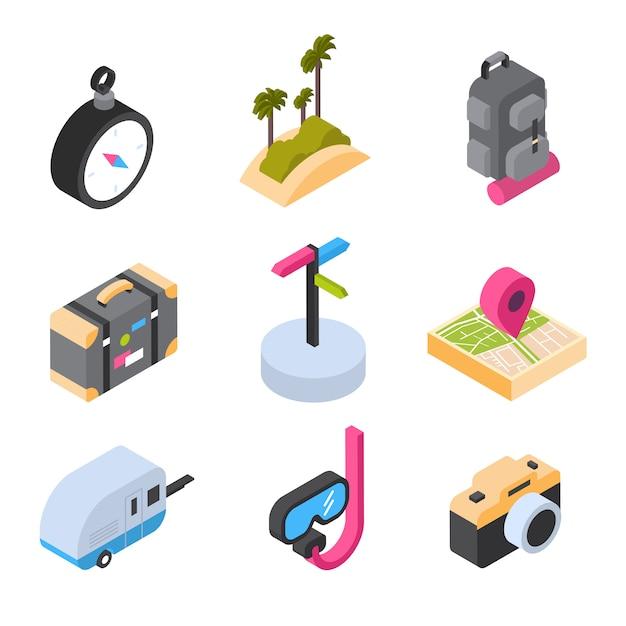 Viagens e turismo conjunto de ícones isométricos verão coloridos conjunto de logotipos Vetor Premium