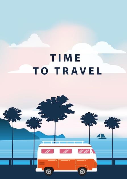 Viagens, ilustração de viagem. pôr do sol, oceano, mar, vista do mar. van de surf, ônibus na estrada palm beach Vetor Premium