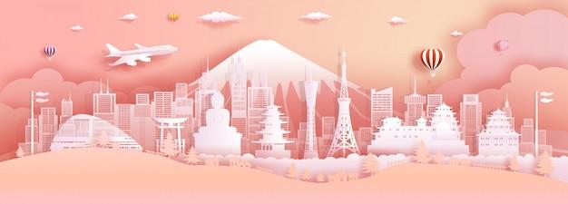 Viagens japão top mundialmente famoso castelo arquitetura antiga e palácio. Vetor Premium