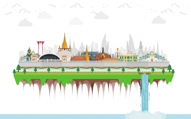 Viagens tailândia com marco e lugar de viagem e gigantes guardiões Vetor Premium