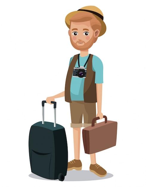 Viajando homem barba carteira de camareiras turísticas mala Vetor Premium