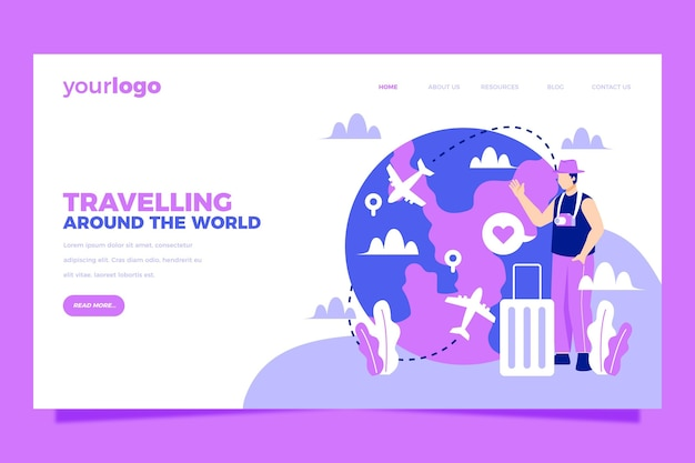 Viajando pela página de destino do turismo local no mundo Vetor Premium