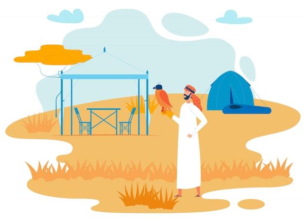 Viajante beduíno com falcão vector plana personagem Vetor Premium