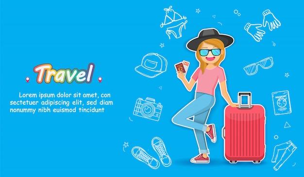 Viajante bonito dos desenhos animados da mulher da tração da mão do doodle com recurso da bagagem e dos acessórios Vetor Premium