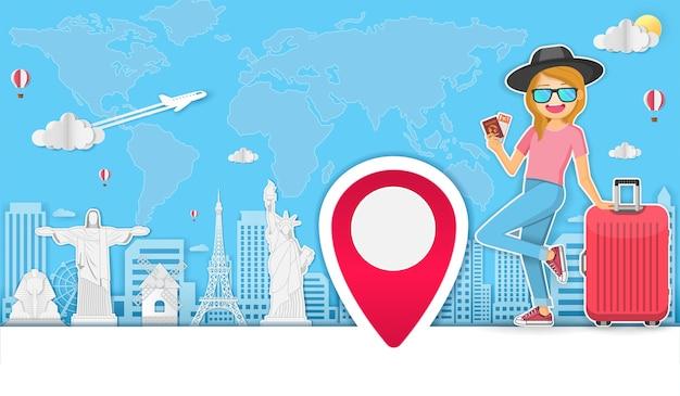 Viajante mulher viajar ao redor do conceito de mundo. Vetor Premium