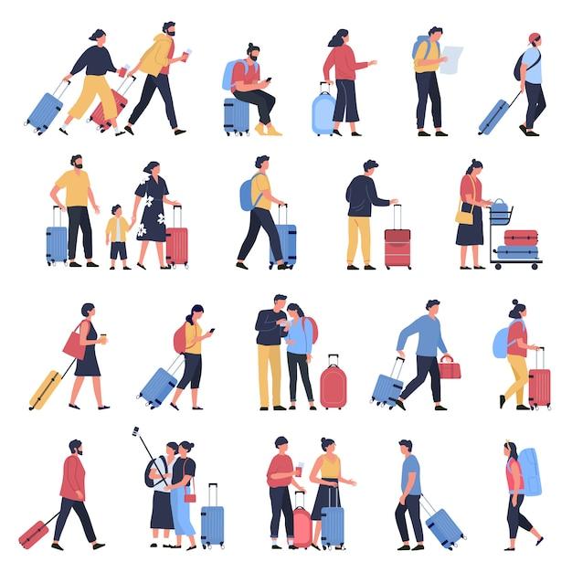 Viajantes no aeroporto. turistas de negócios, pessoas esperando no terminal de aeroportos com bagagem, personagens andando e correndo para embarcar conjunto de ilustração Vetor Premium
