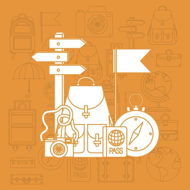 Viajar ao redor do mundo conjunto de ícones Vetor Premium