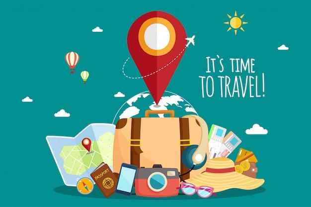 Viajar de avião. viagem pelo mundo. planejando férias de verão. tema de turismo e férias. Vetor Premium