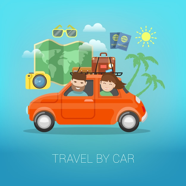 Viajar de carro. casal feliz viajando com bagagem no carro. Vetor Premium