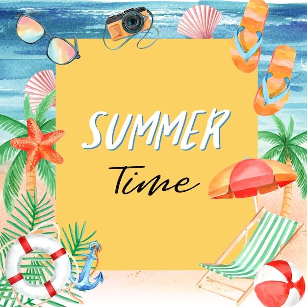 Viajar de férias de verão a praia férias de palma de férias, mar e céu a luz do sol Vetor grátis