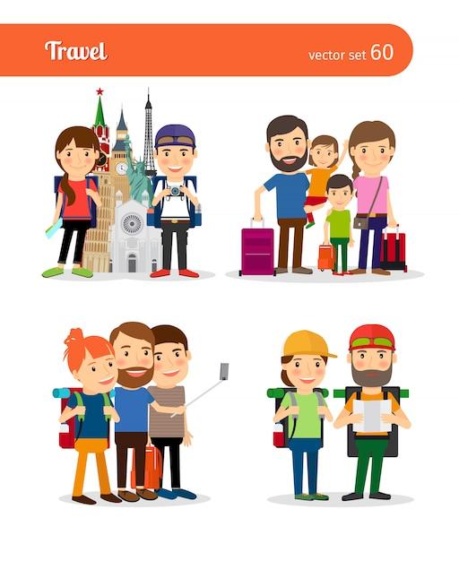Viajar em família e viajar casal vector pessoas Vetor Premium