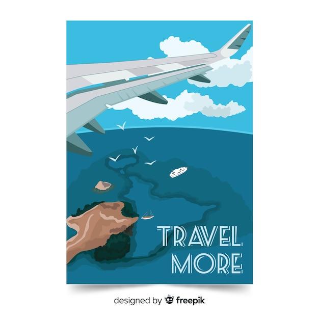 Viajar mais fundo com avião Vetor grátis