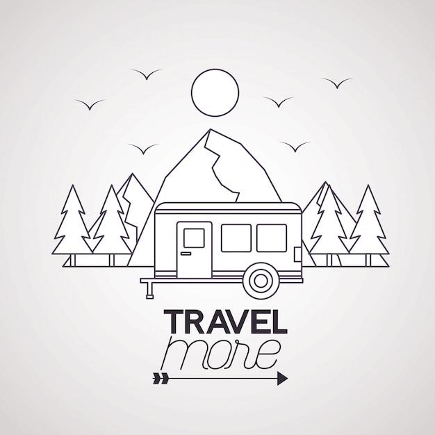 Viajar mais pôster Vetor grátis