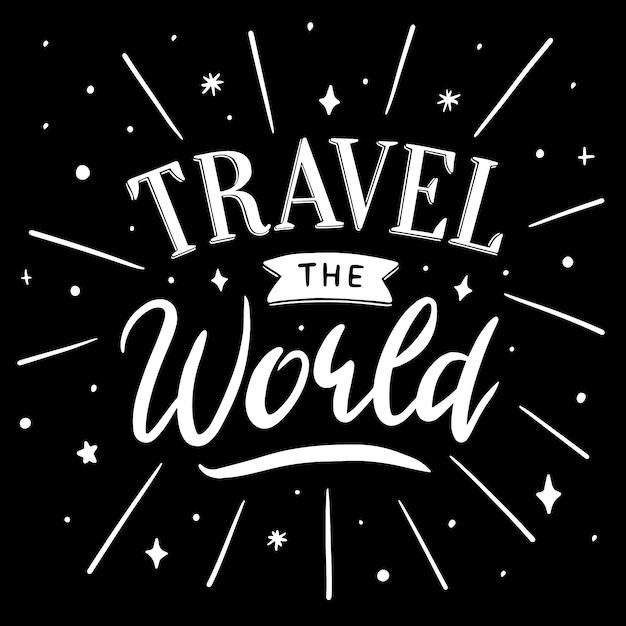 Viajar o mundo letras Vetor grátis