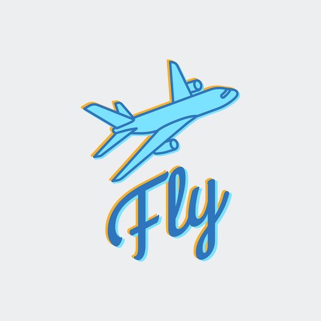 Viajar ou avião logo vector ícone Vetor Premium