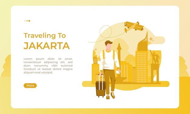 Viajar para a cidade de jacarta, ilustrado com um tema de férias para um dia de turismo Vetor Premium