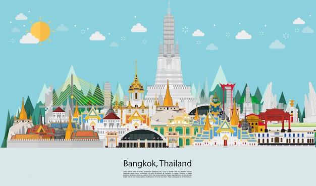 Viajar para a tailândia marco e palácio de viagens Vetor Premium