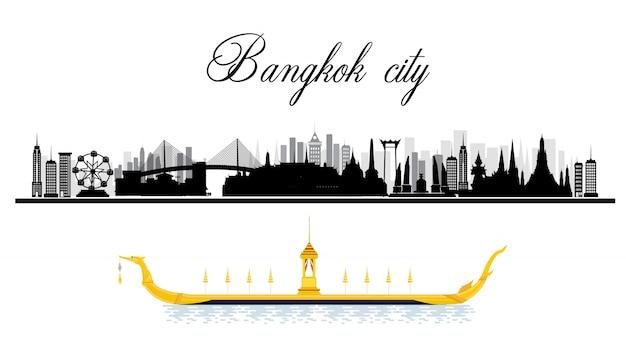 Viajar para bangkok na tailândia e pontos de referência Vetor Premium