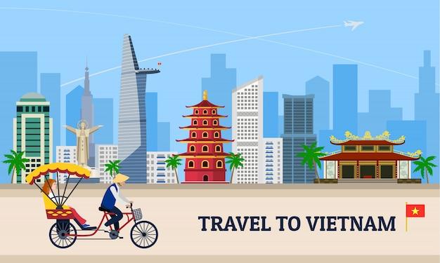 Viajar para o conceito do vietnã Vetor Premium