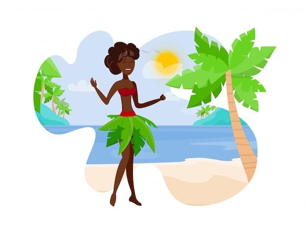 Viajar para o paradise island flat color illustration Vetor Premium
