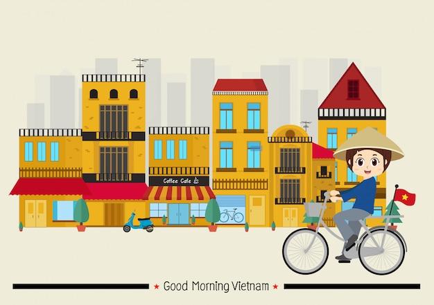 Viajar para o vietnã na cidade velha de hanói Vetor Premium