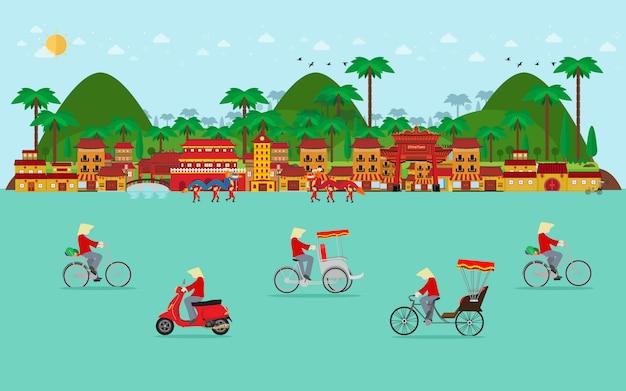Viajar para o vietnã, transporte no vietnã. bicicleta, triciclo, scooter. design plano Vetor Premium