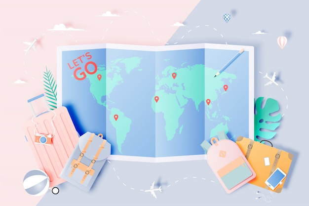 Viajar vários itens no estilo de arte de papel Vetor Premium
