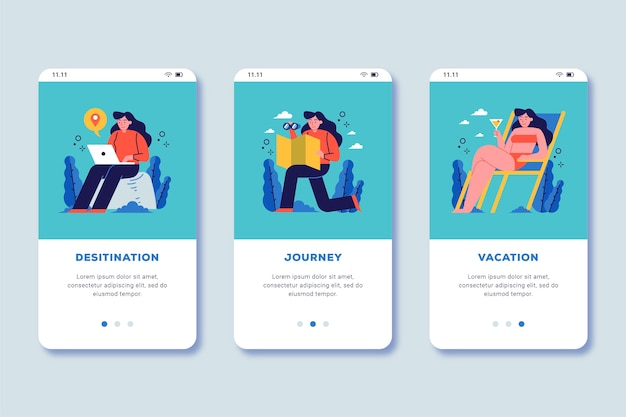 Viaje on-line na tela do aplicativo de integração Vetor grátis
