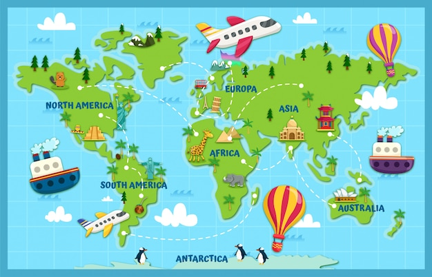 Viaje pelo mundo Vetor Premium